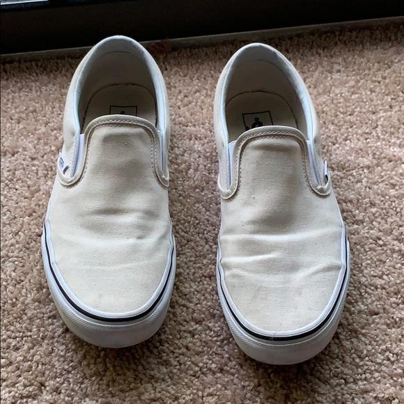 Vans Shoes | Birch White Canvas Slip On